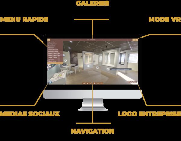 interface Web visites virtuelles de votre entreprise société local association structure